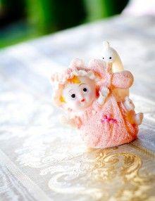 Marturii botez bebe cu barza roz