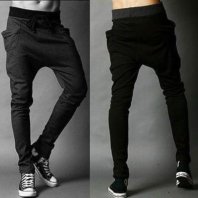 2017 Mens Cotton Trackies Skinny leg tapered Slim Joggers Pants cuff  Track Dance