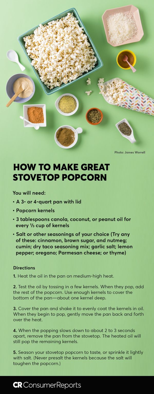 Ever dreamed of ditching the microwave bag and making fresh, fluffy stovetop popcorn? It's surprisingly easy to make popcorn on the stovetop, and this whole grain can still be a healthy snack, coming in at just 133 calories per cup even when lightly buttered. Try making it sweet, salty, cheesy, or something a little more unusual with our easy stovetop popcorn recipe.