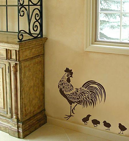 country-style stencil https://www.cuttingedgestencils.com/rooster-stencil.html?category_id=1007