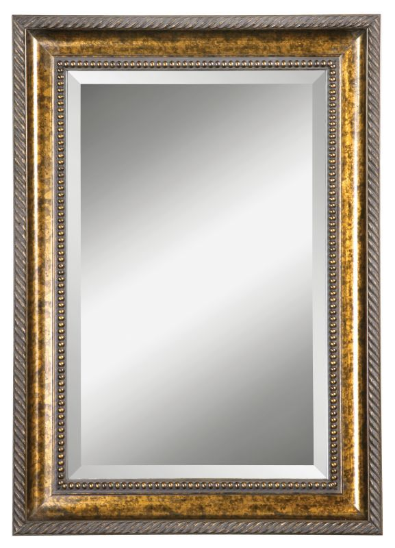 Uttermost 14157 B Sinatra Vanity Beveled Mirror Brown Stain With Gold Leaf Undercoat Home Decor Mirrors Lighting