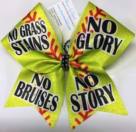 Bows by April - No Stains No Glory No Bruises No Story Softball Bow, $15.00 (http://www.bowsbyapril.com/no-stains-no-glory-no-bruises-no-story-softball-bow/)