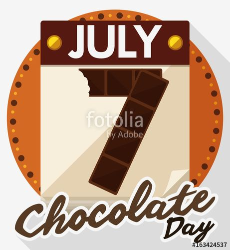 Calendar with Reminder Date for Chocolate Day in Flat Style
