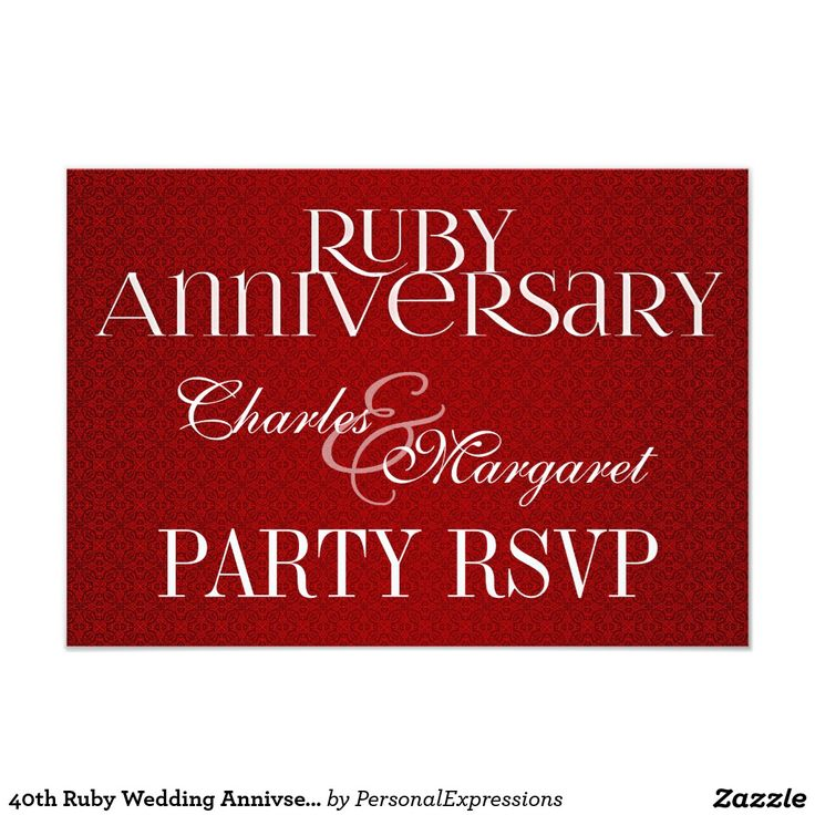 40th Ruby Wedding Annivsersary RSVP