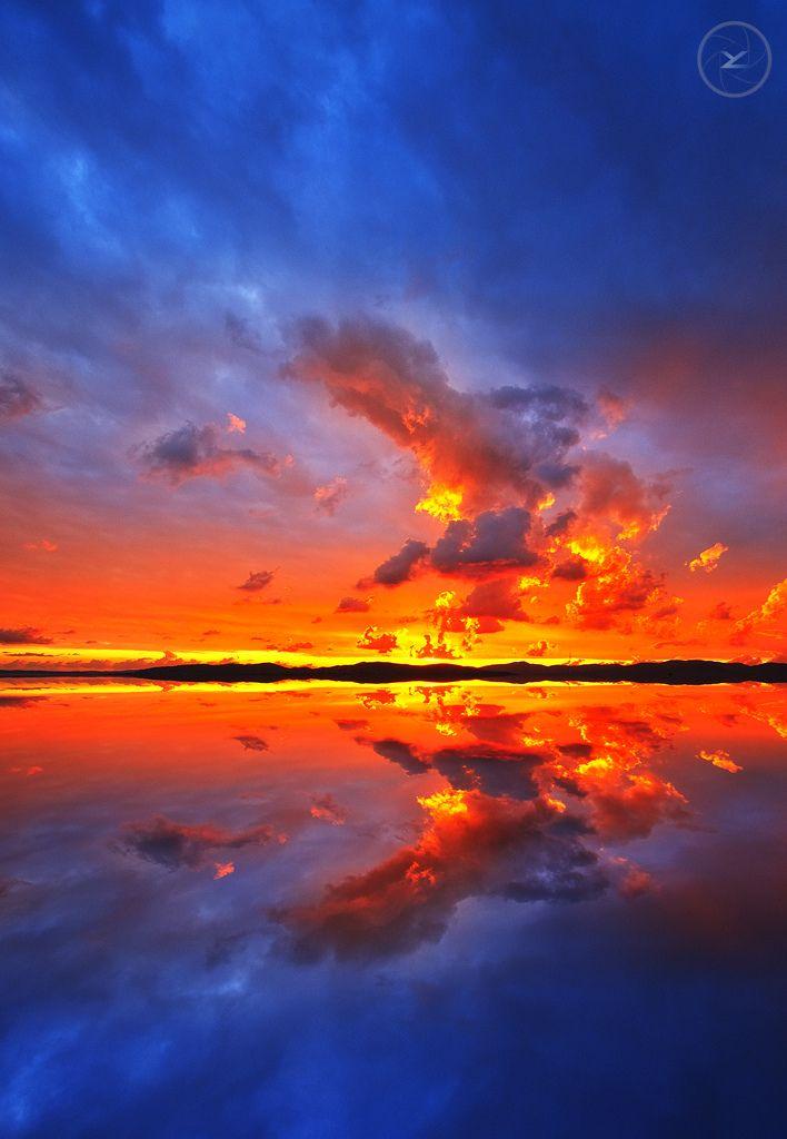 Fire Sunset to Saint-Raphael,  Côte d'Azur, France