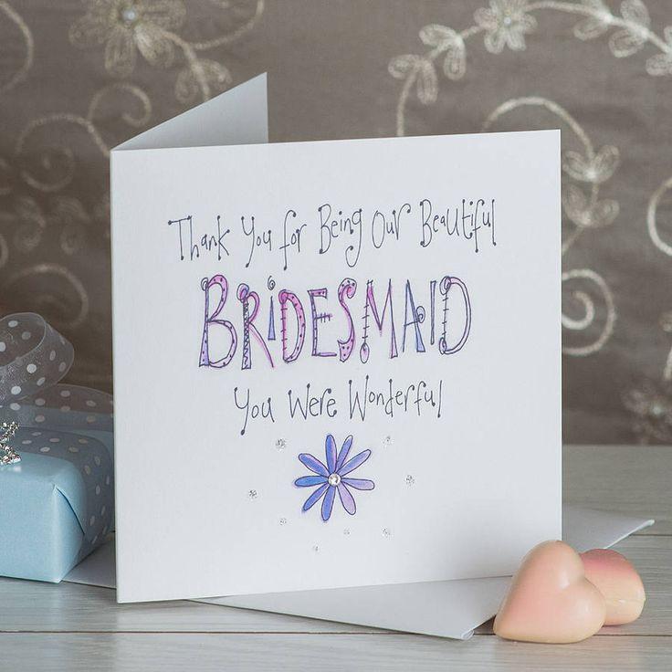 Crystal Bridesmaid Thank You Card from notonthehighstreet.com