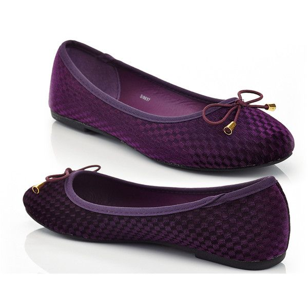 Women's Rasolli Womens Velvet Ballet Flat 8.5 Medium ($27) ❤ liked on Polyvore featuring shoes, flats, purple, ballerina flat shoes, bow shoes, skimmer flats, ballerina shoes and purple ballet shoes