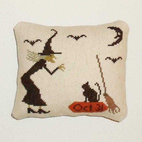 Finished Primitive Halloween Cross Stitch Decor by arcadecache
