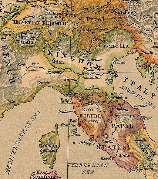 Norditalien und Mittelitalien 1806
