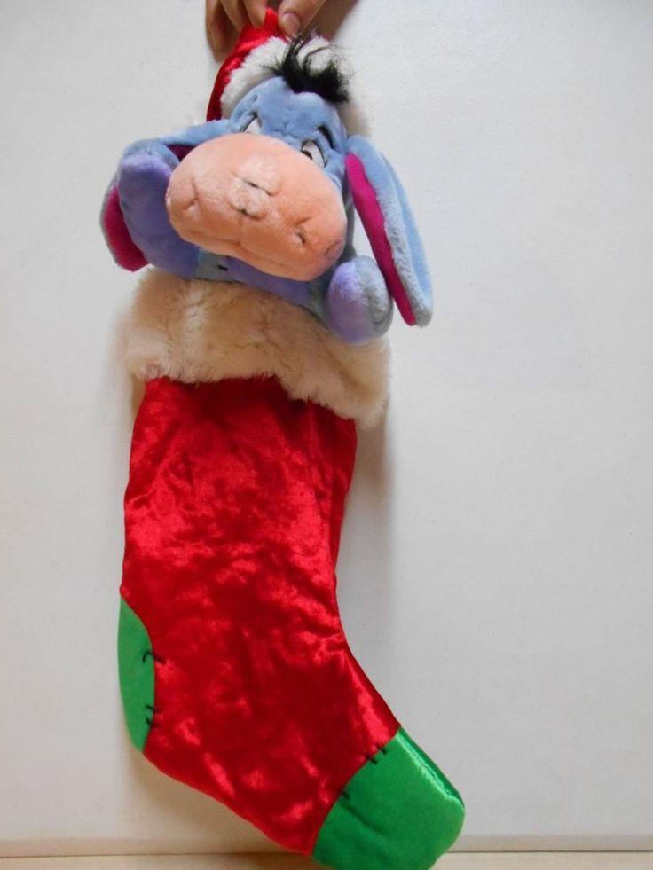 Large Colorful Disney Christmas Stocking W/Stuffed /Plush Eeyore Pooh Character #Disney