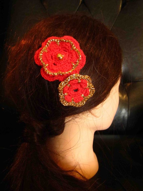 Comb with red and gold crochet flowers by WhiteBea on Etsy, $8.00