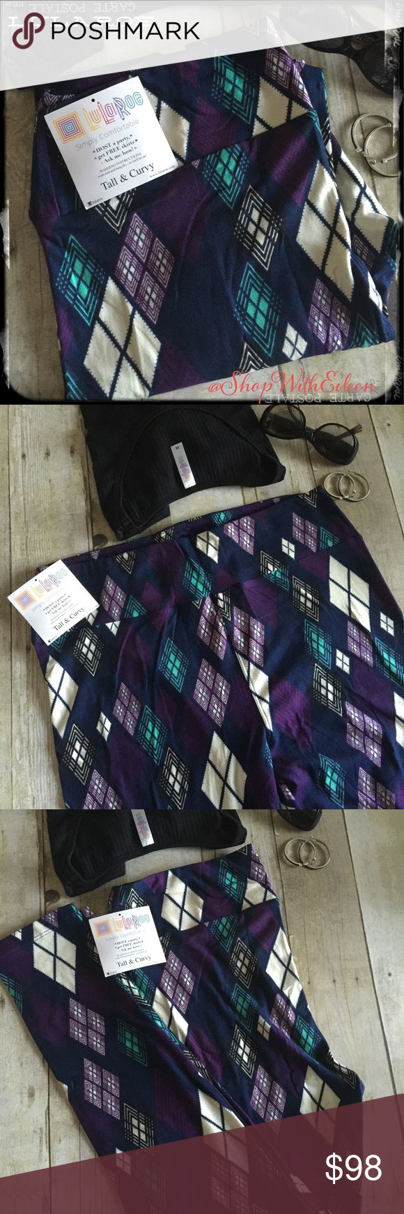 LulaRoe Royal Purple Aqua Argyle TC Leggings!  LulaRoe Royal Purple Aqua Argyle TC Leggings! Preppy is BACK! If you love that preppy look... These leggings are for YOU!!! Navy Blue background with royal purple, aqua & black argyle print! Very sought after & hard to find! Unbelievable! These are made in Indonesia. * I am not a consultant… I am just a LulaRoe addict and love the hunt to find great prints! Enjoy!  FIRM! LuLaRoe Pants Leggings