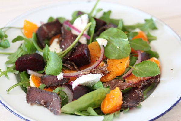 Braai day! Sumptuous sides for the braai | Biltong, beetroot, mandarin and goats cheese salad
