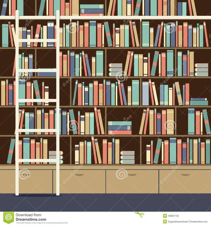 illustration bibliothèque | Bibliothèque Avec L'échelle Illustration de Vecteur - Image ...