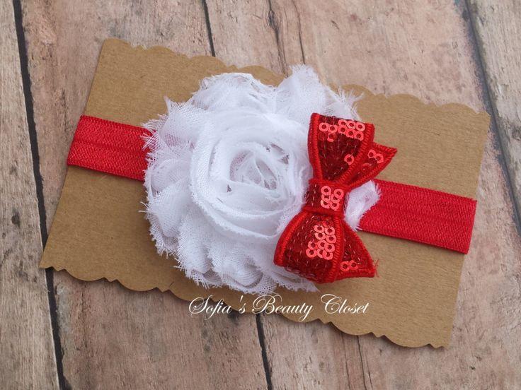 White Red headband. Baby Santa headband. Christmas headband. Santa headband. Baby Christmas headband. Girls red headband. Red Bow headand by SofiasBeautyCloset on Etsy