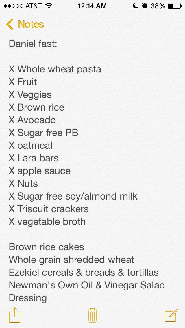 Daniel fast food list. Daniel fast food list