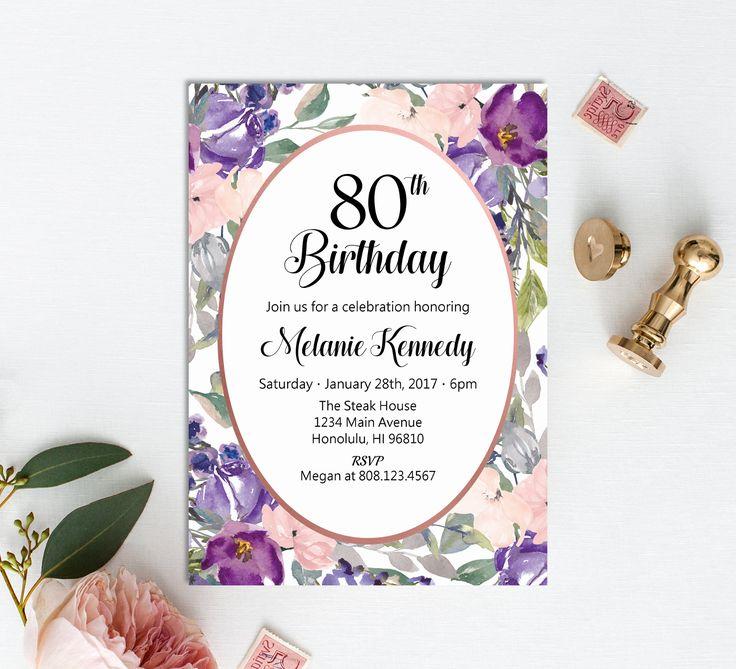 80th Birthday Invitation, Women Birthday Invitation, Pink