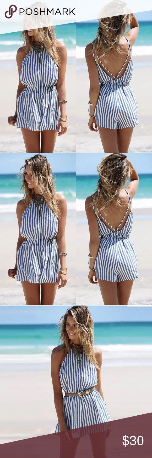 🌸striped blue and white romper🌸 Beautiful sky blue and white short summer romper.  🌸Make an offer 🌸Bundle for an additional 10% off 🌸Don't hesitate to ask any questions  🌸Available in S and M Dresses