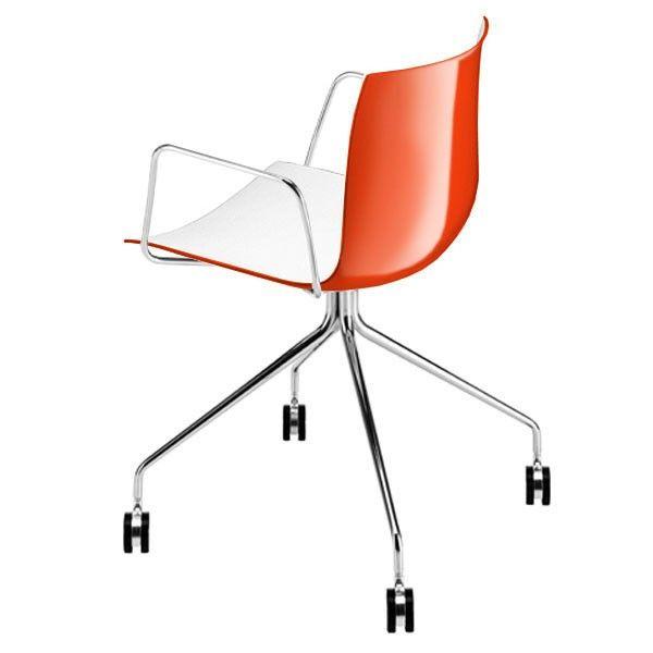 Catifa 46, 0369, Bicolor, Drehgestell mit Rollen & Armlehnen, Stuhl, Farbe: weiß / orange 1209 Jetzt bestellen unter: http://www.woonio.de/p/catifa-46-0369-bicolor-drehgestell-mit-rollen-armlehnen-stuhl-farbe-weiss-orange-1209/