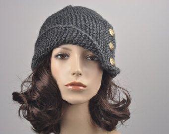 A mano a maglia cappello - cappello di fascia piega a carboncino con pulsante, cappello di lana