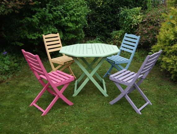 Colourful Pink Blue Green Purple Yelloworange Hand Painted Hardwood  Gardenpatio Table And Chair Set By Upvamped