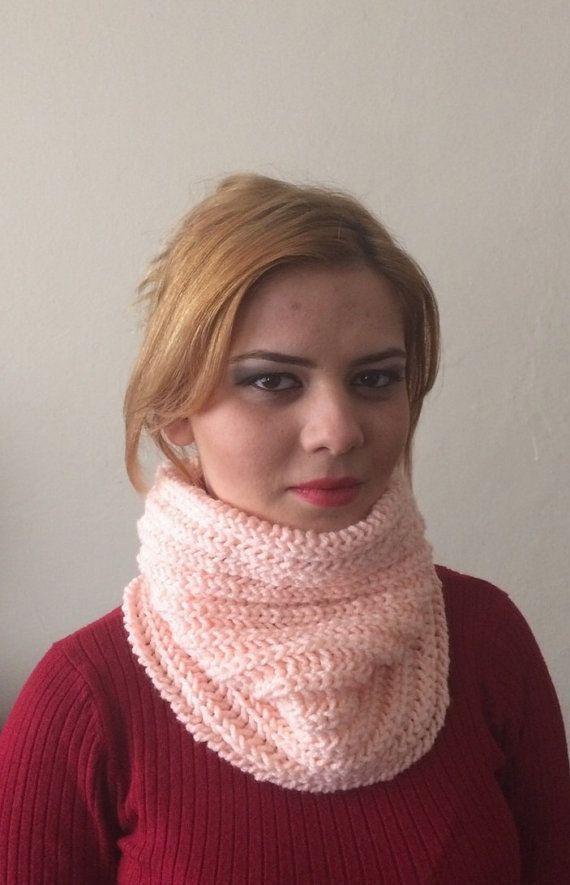 orange knit infinity  scarf orange circle scarf by DamlaScarf