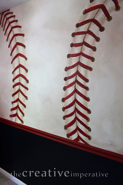 How-to on how to make really good looking baseball stitching on the walls! Good close-up pictures and details.The Creative Imperative: Some Yankees and Nationals Baseball Murals