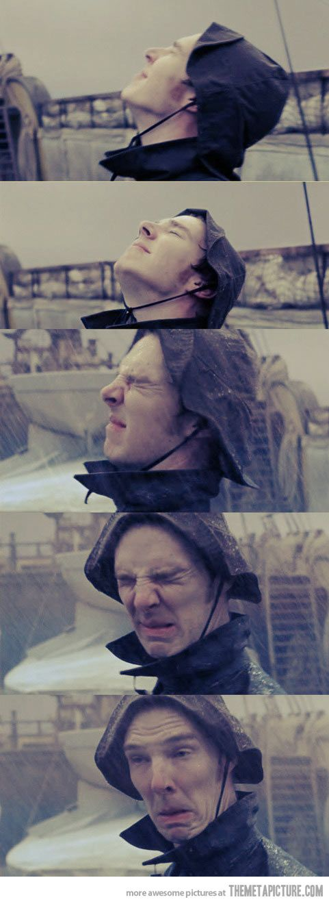 Benedict Cumberbatch doesn't like the rain. Yet he's still completely adorable.