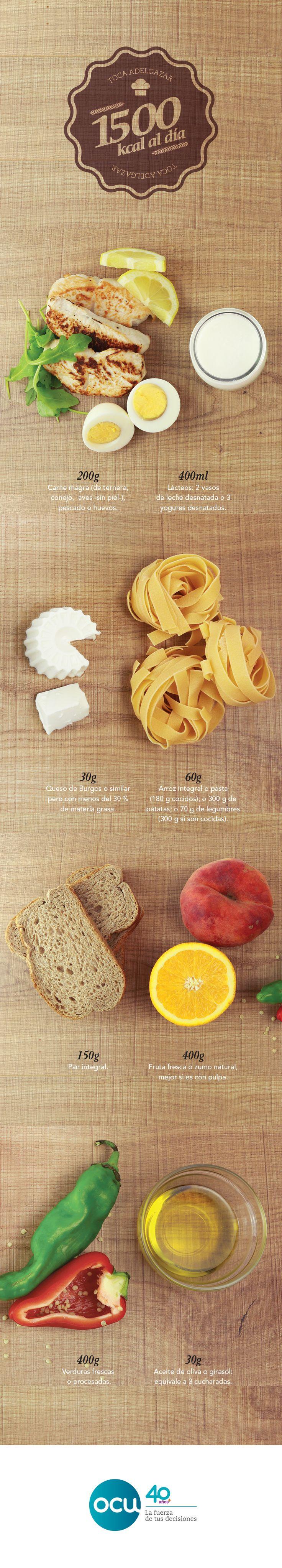 La clave para perder unos kilos está en seguir una dieta completa y equilibrada. Comer de todo, pero en las cantidades justas. Te ponemos un ejemplo para 1.500 kcal diarias.