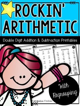 Help your students achieve basic addition and subtraction math fact fluency with this double digit math fact fluency unit. This unit contains problems with regrouping. Included in this unit: Page 1: Title Page Page 2: Description Page Pages 3-17: 15 black/white printable pages of double digit addition problems (with regrouping)