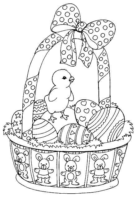 húsvéti kosárka, tojások, csibe, masni