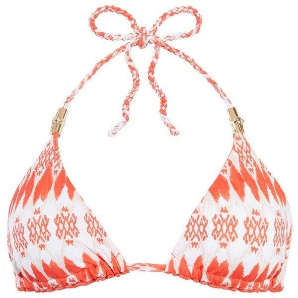 HEIDI KLEIN Punta Del Este Reversible Rope Triangle Top - Print ($125) ❤ liked on Polyvore featuring swimwear, bikinis, bikini tops, print, white bikini, reversible bikini, swimsuit tops, white triangle bikini top and triangle bikini top