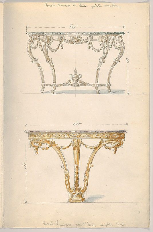 Two Period-style Designs for a Console Table (Louis XVI)