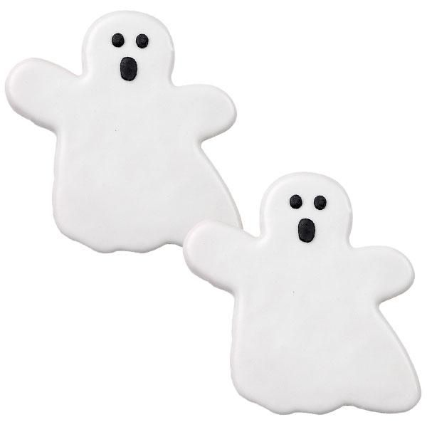 White as a Ghost Cookies - Thinned royal icing is poured over your cookies for quick and easydecorating. It dries to a smooth finish, perfect for any detailsyou want to add.