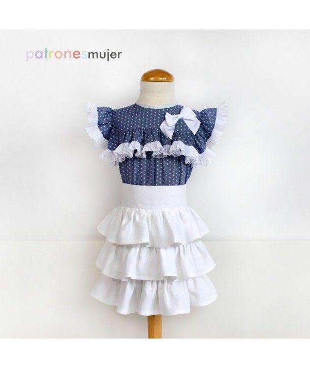 Conjunto de blusa y falda de volantes, con video tutorial para su confección.