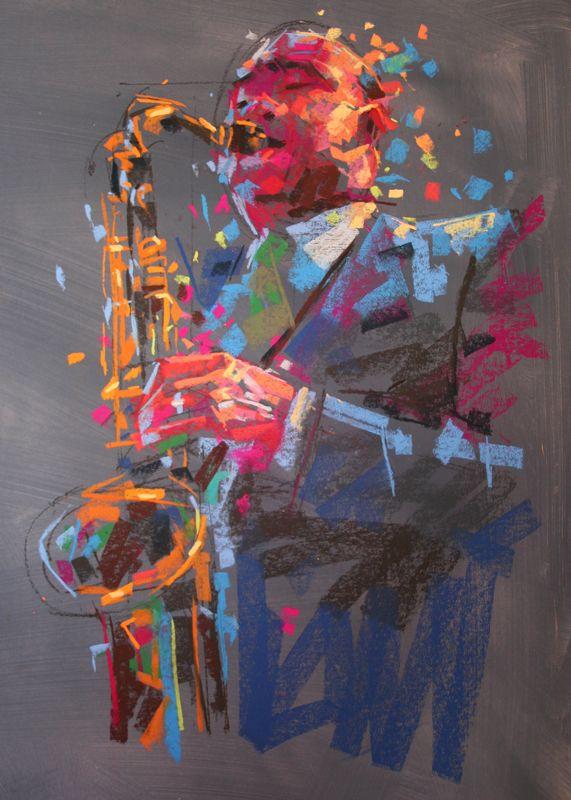jazz Art Chalk Pastel 36ins by 24ins, Jamel Akib