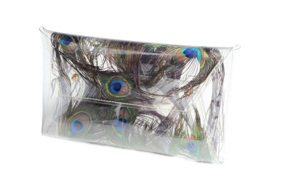 Peacock feathers  peackock wedding bag real feathers transparent purse evening clear purse unique bag Clear clutch formal party blue green