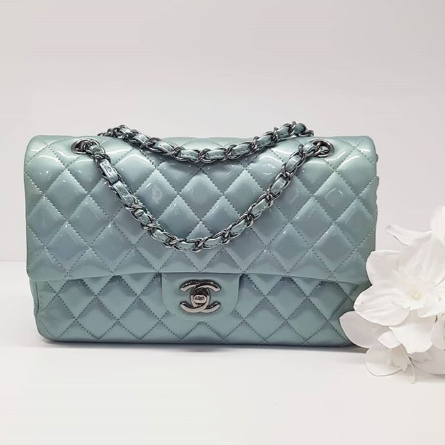 3100 Wire Preloved Baby Blue Patent Chanel Medium Flap Bag Full Set With Authenticity Card Starting With 175 N Chanel Medium Flap Bag Flap Bag Patent Chanel
