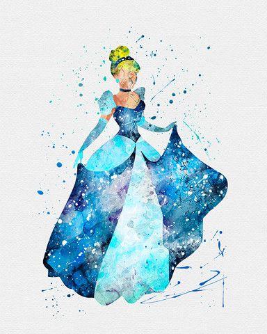Cinderella Watercolor Art via VIVIDEDITIONS