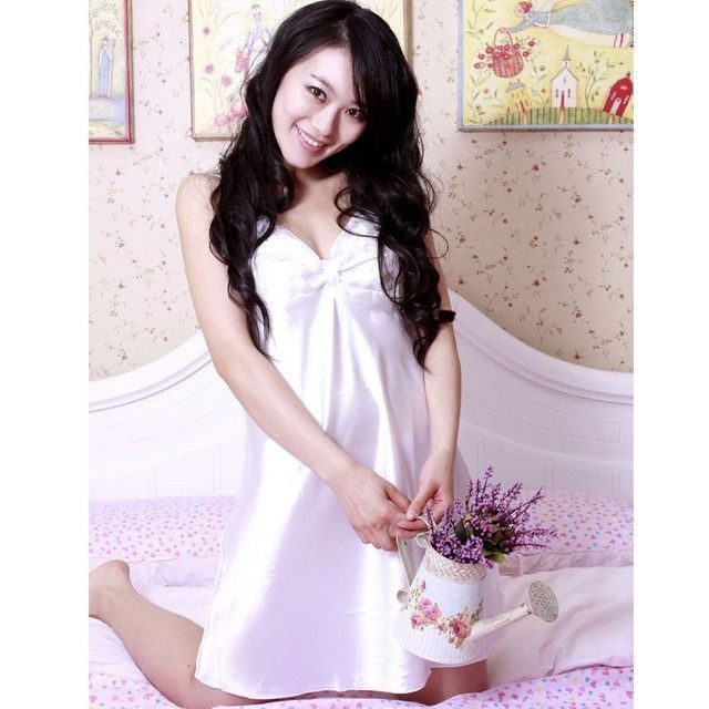 Ladies Sexy Night Dress V-neck Nightgown Plus Size Nightdress Strap Faux Silk Nightwear For Women