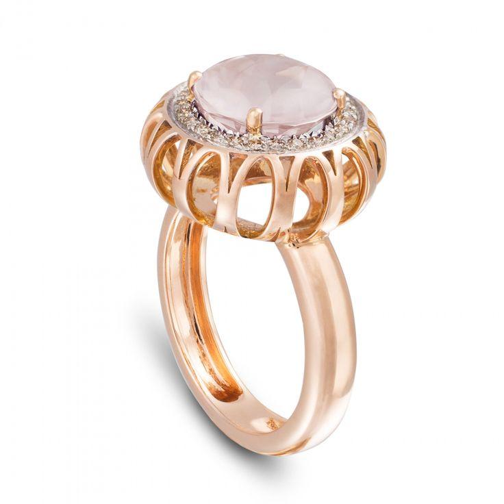 Marli Lollipop - Anello Quarzo Rosa, Oro Rosa e Diamanti MLP-R4N-AN115QZR