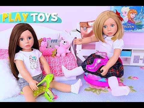 Baby Doll Dress up Toys! Play American Girl Doll Decorate Shoes DIY in AG OG Dolls bedroom wardrobe! - YouTube