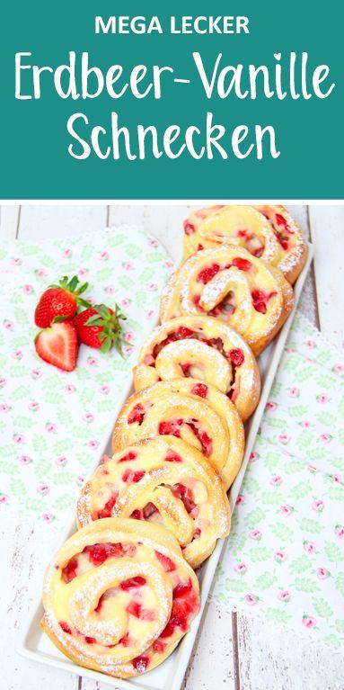 Erdbeer-Vanille-Schnecken (mit Vanillepudding) Super fluffig und mega lecker.
