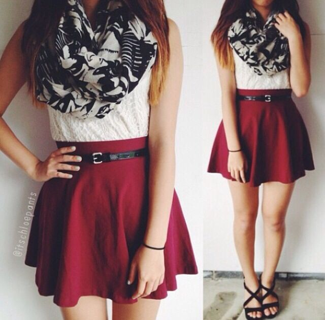 Cute Outfit : red skater skirt + white top + b&w infinity scarf + thin black…