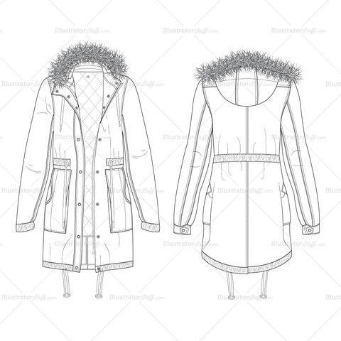 Women's Parka Coat Fashion Flat Template