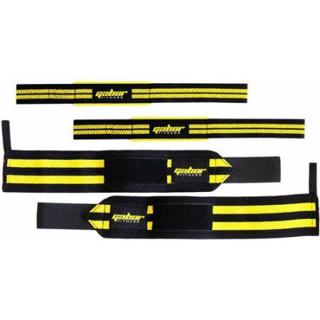 Gabor Fitness Heavy-Duty Weight-Lifting Wrist Wraps and Straps Combo Package, Black