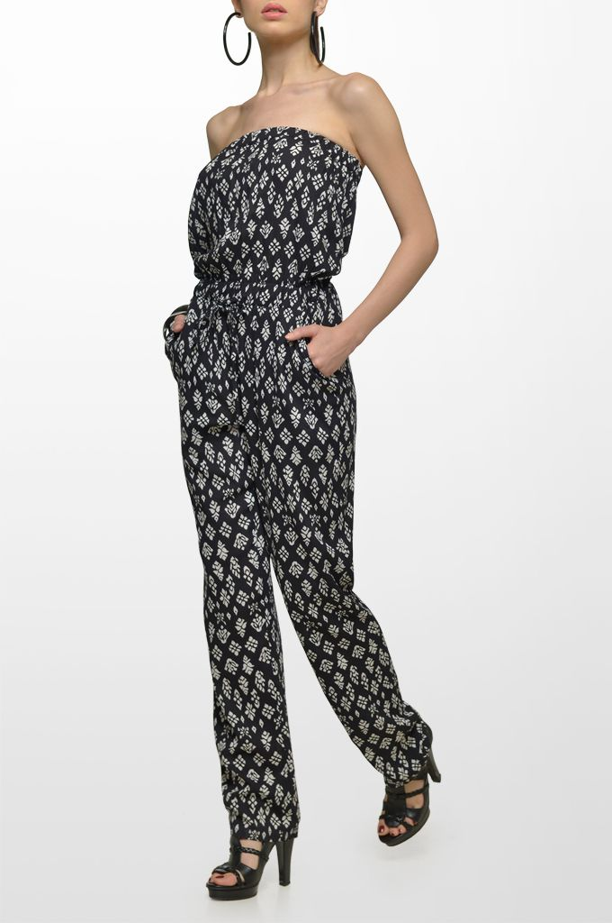 Sarah Lawrence - strapless printed jump suit.