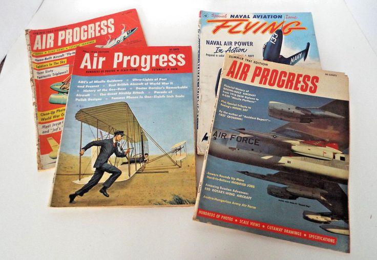 4 Air Progress Naval Marine Aviation Flying Magazines 1951-1962 Vintage Lot
