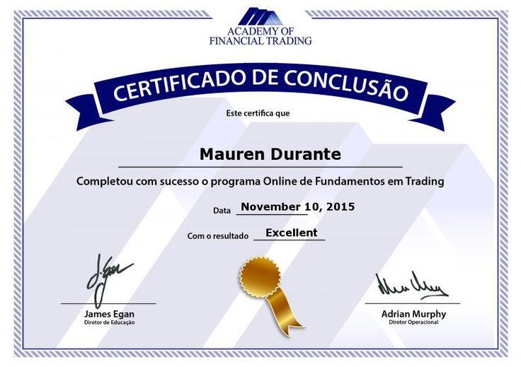 Score Report: Academy of Financial Trading - Certificado de conclusão de teste