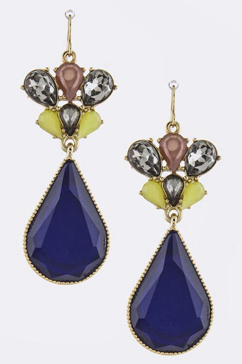 """DESIGNER INSPIRED Navy jewel teardrop earrings approx. 2.6"""" drop, fish hook back. $19.00 with FAST, FREE SHIPPING"""